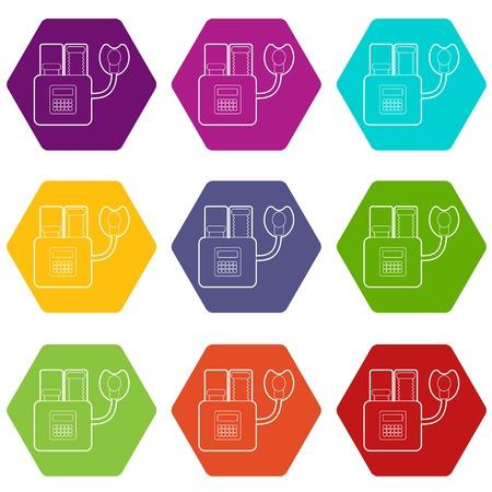 Appareil pour la respiration artificielle icons 9 set coloful isolé sur blanc pour le web