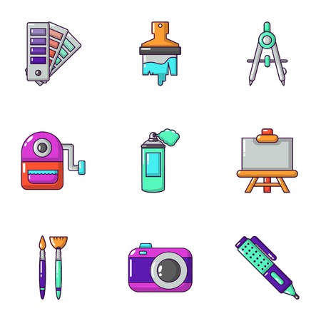 Color coating icons set. Cartoon set of 9 color coating vector icons for web isolated on white background