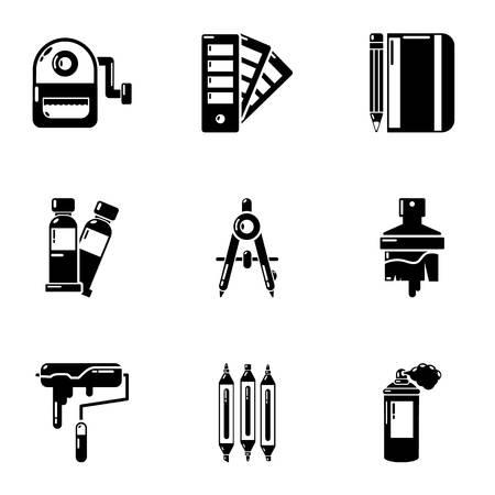 Flower coating icons set. Simple set of 9 flower coating vector icons for web isolated on white background