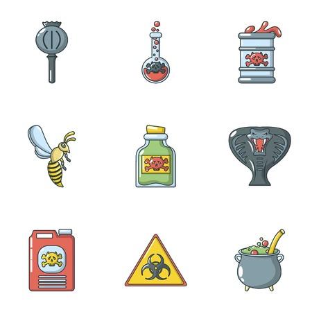 Bane icons set, cartoon style Illustration
