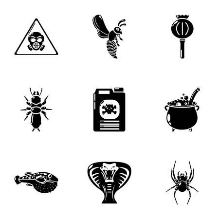 Imprecation icons set, simple style Illustration