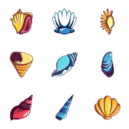 Mussel icons set, cartoon style