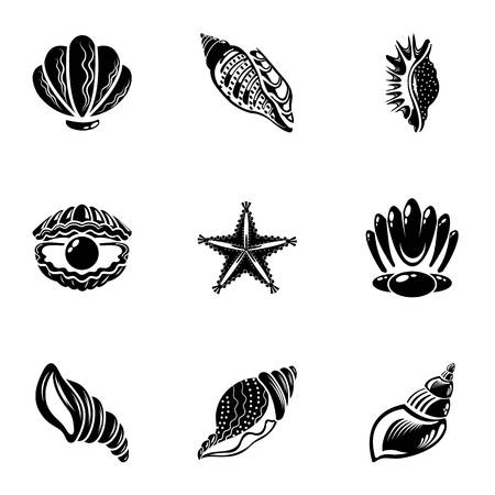 Bivalve icons set. Simple set of 9 bivalve vector icons for web isolated on white background