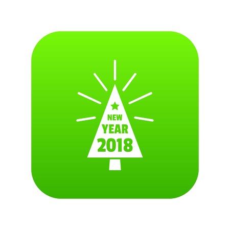 Beautiful christmas tree icon green vector