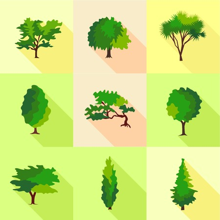 Crown wood icons set. Flat set of 9 crown wood vector icons for web isolated on white background Illustration
