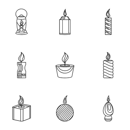 Fire radiance icons set, outline style