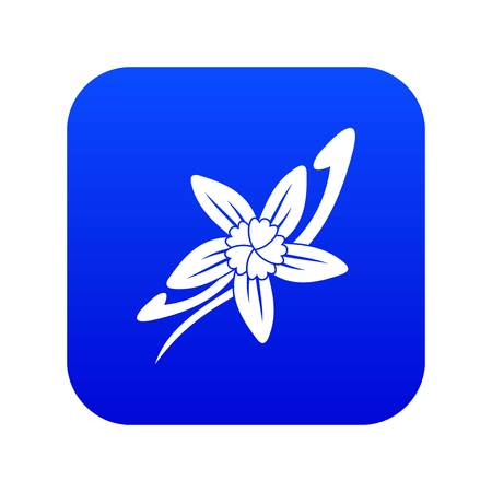 Vanilla sticks with a flower icon digital blue for any design isolated on white vector illustration