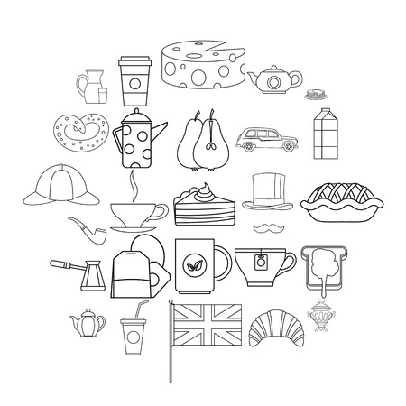 Mug of tea icons set. Outline set of 25 mug of tea vector icons for web isolated on white background Vectores