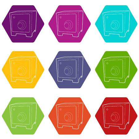 Safe icons set 9 vector
