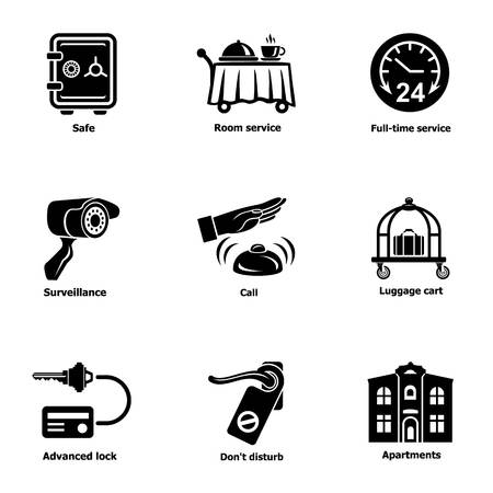 Safe hotel icons set. Simple set of 9 safe hotel vector icons for web isolated on white background Vektorgrafik