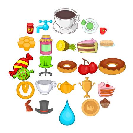 Pastry icons set. Cartoon set of 25 pastry vector icons for web isolated on white background
