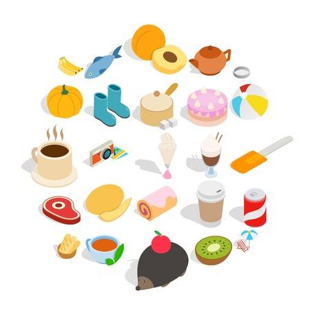 Creamy food icons set. Isometric set of 25 creamy food vector icons for web isolated on white background
