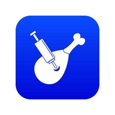 Syringe being injected to a piece of meat icon digital blue for any design isolated on white vector illustration