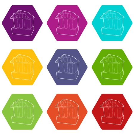 Bank icons set 9 vector Illustration