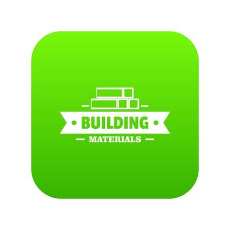 Construction materials icon green vector