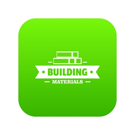Construction materials icon green vector