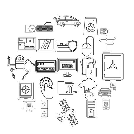 Change in technology icons set. Outline set of 25 change in technology vector icons for web isolated on white background Illustration