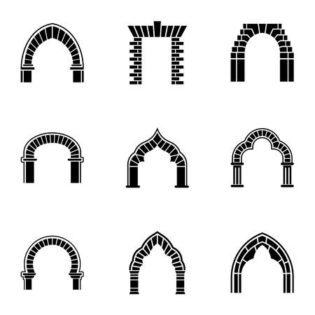Ensemble d'icônes de manière d'arche. Ensemble simple de 9 icônes vectorielles de chemin d'arc pour le web isolé sur fond blanc