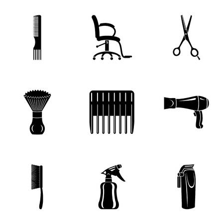 Comb icons set. Simple set of 9 comb vector icons for web isolated on white background