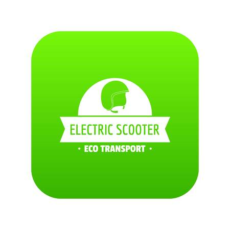 Helmet gyro scooter icon green vector