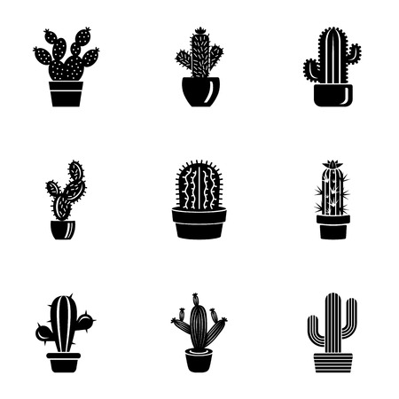Prickly pear icons set. Simple set of 9 prickly pear vector icons for web isolated on white background