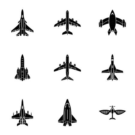Jet icons set. Simple set of 9 jet vector icons for web isolated on white background