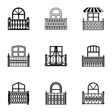 Passage icons set, simple style