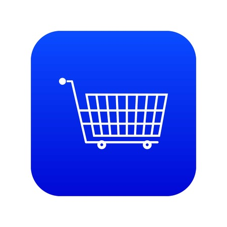Large empty supermarket cart icon digital blue for any design isolated on white vector illustration