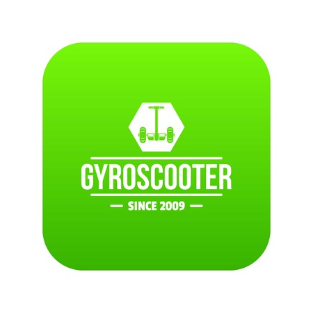 Balance gyro scooter icon green vector