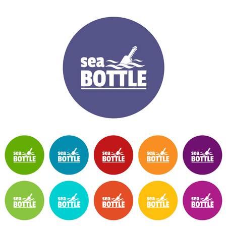 Sea bottle icons set vector color