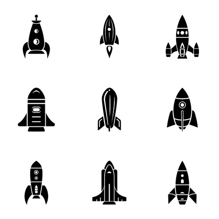 Projectile icons set. Simple set of 9 projectile vector icons for web isolated on white background Illustration