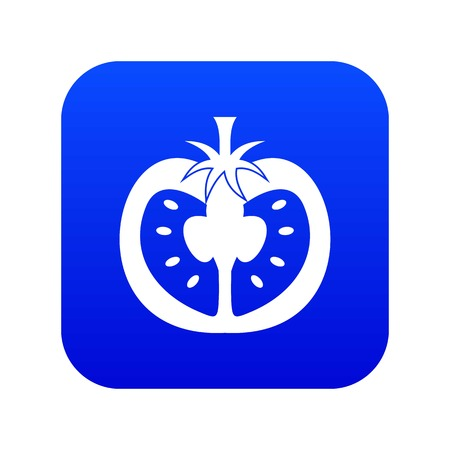 Half of tomato icon digital blue for any design isolated on white vector illustration