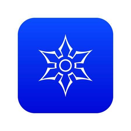 Ninja shuriken star weapon icon digital blue