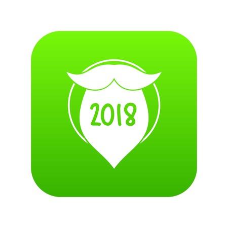Beard icon green vector
