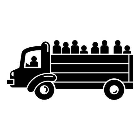 Refugee people truck icon. Simple illustration of refugee people truck vector icon for web design isolated on white background Illustration