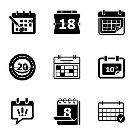 Current time icons set. Simple set of 9 current time vector icons for web isolated on white background Stock Illustratie