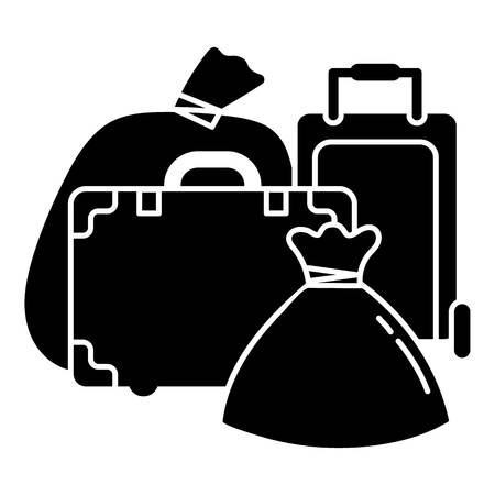 Migrant refugee bags icon. Simple illustration of migrant refugee bags vector icon for web design isolated on white background
