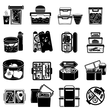 Lunchbox icon set. Simple set of lunchbox vector icons for web design on white background