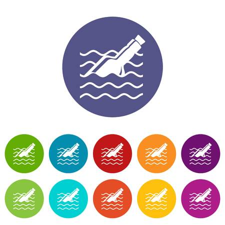 Message in bottle icons set vector color