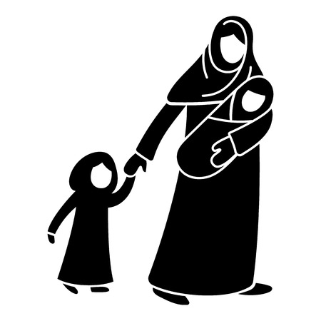 Refugee mother children icon. Simple illustration of refugee mother children vector icon for web design isolated on white background