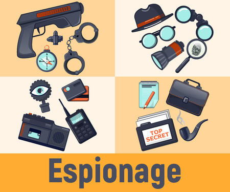 Espionage concept banner. Cartoon banner of espionage vector concept for web, giftcard and postcard Illustration