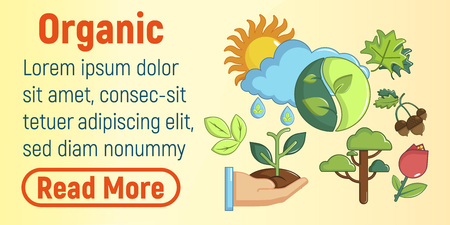 Organic concept banner. Cartoon banner of organic vector concept for web, giftcard and postcard