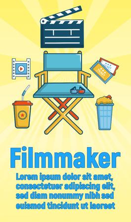 Filmmaker concept banner. Cartoon banner of filmmaker vector concept for web, giftcard and postcard Illustration