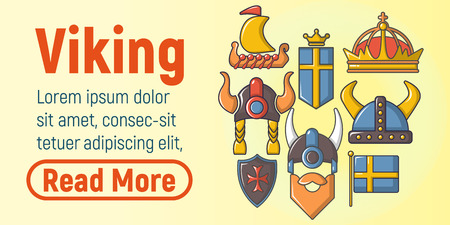 Viking concept banner. Cartoon banner of viking vector concept for web, giftcard and postcard