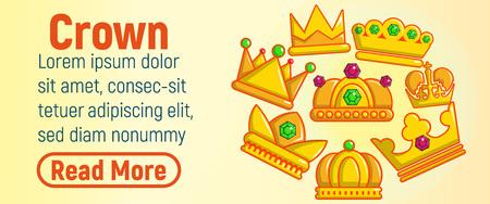 Crown concept banner. Cartoon banner of crown vector concept for web, giftcard and postcard Vektoros illusztráció