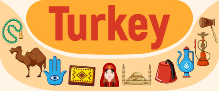 Turkey concept banner. Cartoon banner of turkey vector concept for web, giftcard and postcard Imagens - 127243268