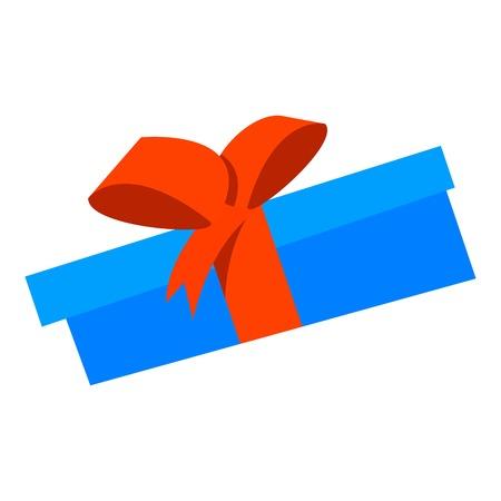 Blue gift box icon, flat style 向量圖像