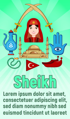 Sheikh concept banner. Cartoon banner of sheikh vector concept for web, giftcard and postcard Imagens - 127243299