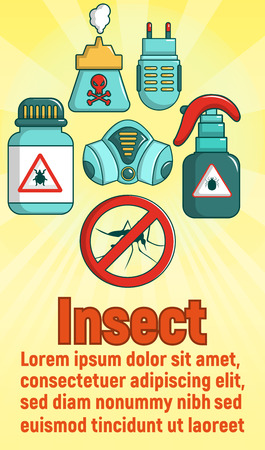 Insect concept banner, cartoon style