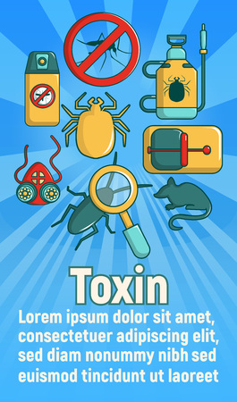 Toxin concept banner, cartoon style Illustration